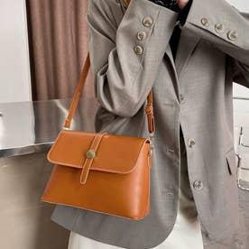 レザー調 PU ショルダーバッグ 2way 鞄 (キャメル)