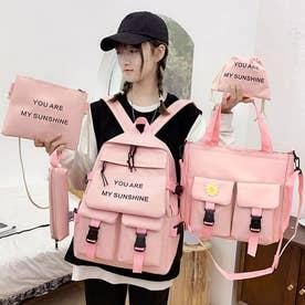 リュックサック大容量5点セット韓国風 (ピンク)