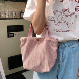 コーデュロイ ミニトートバッグ レディース 小さめ サブバッグ コンパクト お弁当バッグ 手提げ おしゃれバッグ (ピンク)