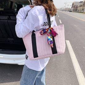 かごバッグ レディース スカーフ付き  トートバッグ(ピンク)