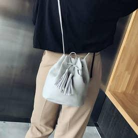 小さめ ショルダーバッグ レディース 斜めがけ 大人 バケツバッグ 巾着バッグ プチプラ 安い レザーバッグ タッセル (ライトグレー)