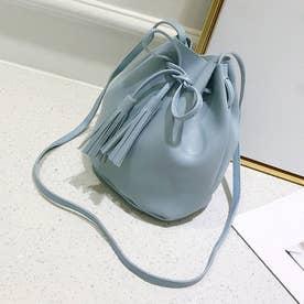 小さめ ショルダーバッグ レディース 斜めがけ 大人 バケツバッグ 巾着バッグ プチプラ 安い レザーバッグ タッセル (薄ブルー)