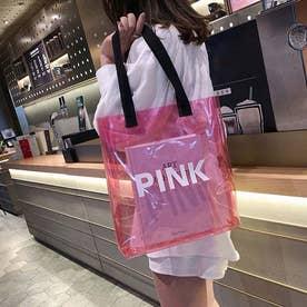 a4 バッグ レディース トートバッグ ビニールバッグ クリアバッグ ハンドバッグ 軽い 大容量 (ピンク)