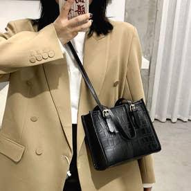 ハンドバッグ ショルダーバッグ レディース PU レザー調 鞄 カバン 肩掛け 手持ち お洒落 韓国 (ブラック)