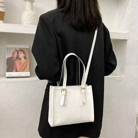 ハンドバッグ ショルダーバッグ レディース PU レザー調 鞄 カバン 肩掛け 手持ち お洒落 韓国 (ホワイト)
