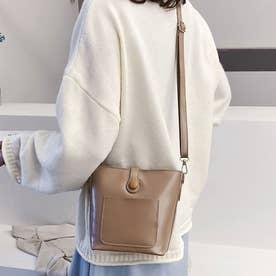 ショルダーバッグ レディース PUレザー 肩掛けバッグ 小さめ 軽量 斜め掛けバッグ ミニバケツバッグ 人気 かばん フェイクレザー (ベージュ)