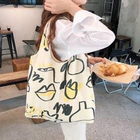 プリント キャンバスバッグ レディース 大容量 エコバッグ トートバッグ お買い物バッグ マイバッグ (ベージュ)