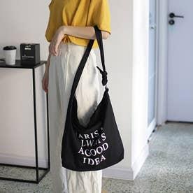 キャンバスバッグ レディース 英字ロゴ 鞄 大容量 エコバッグ おしゃれ バッグ 斜め掛け  a4 大きめ ビッグ ショルダーバッグ 3 way (ブラック
