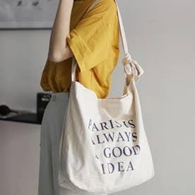 キャンバスバッグ レディース 英字ロゴ 鞄 大容量 エコバッグ おしゃれ バッグ 斜め掛け  a4 大きめ ビッグ ショルダーバッグ 3 way (アイボリ