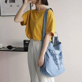 キャンバスバッグ レディース 英字ロゴ 鞄 大容量 エコバッグ おしゃれ バッグ 斜め掛け  a4 大きめ ビッグ ショルダーバッグ 3 way (ブルー)
