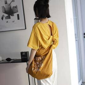 キャンバスバッグ レディース 英字ロゴ 鞄 大容量 エコバッグ おしゃれ バッグ 斜め掛け  a4 大きめ ビッグ ショルダーバッグ 3 way (オレンジ