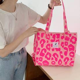キャンバストートバッグ ヒョウ柄 帆布鞄 (ピンク)