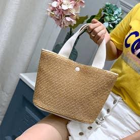 籠バッグ レディース かごバック 新作 配色 夏 トートバッグ ハンドバッグ 無地 ナチュラル 編み鞄 旅行 (ホワイト)