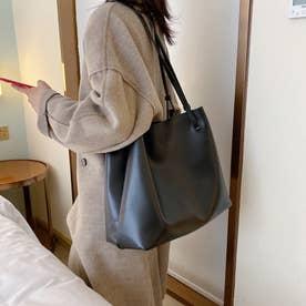 トートバッグ レディース 肩掛けバッグ ハンドバッグ フェイクレザー 鞄 ポーチ付き 韓国 通勤通学 (ブラック)