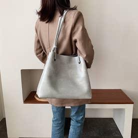 トートバッグ レディース 肩掛けバッグ ハンドバッグ フェイクレザー 鞄 ポーチ付き 韓国 通勤通学 (グレー)