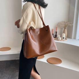 トートバッグ レディース 肩掛けバッグ ハンドバッグ フェイクレザー 鞄 ポーチ付き 韓国 通勤通学 (キャメル)