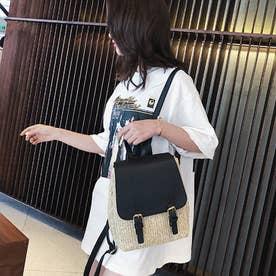 ペーパー リュックサック レディース バッグパック 可愛い デイパック 編みこみ ストローバッグ カジュアル ミニリュック (ブラック)