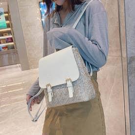 ペーパー リュックサック レディース バッグパック 可愛い デイパック 編みこみ ストローバッグ カジュアル ミニリュック (ホワイト)
