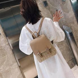 ペーパー リュックサック レディース バッグパック 可愛い デイパック 編みこみ ストローバッグ カジュアル ミニリュック (ベージュ)