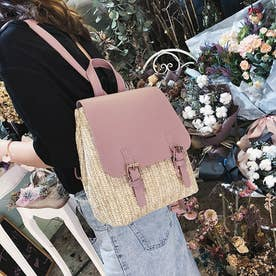 ペーパー リュックサック レディース バッグパック 可愛い デイパック 編みこみ ストローバッグ カジュアル ミニリュック (ピンク)