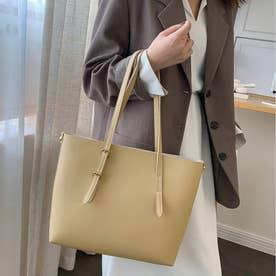 トートバッグ レディースA4大容量 手提げ 鞄 おしゃれPUレザー 通勤通学 無地 シンプル オフィス ビジネスバッグ (ベージュ)