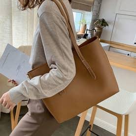 トートバッグ レディースA4大容量 手提げ 鞄 おしゃれPUレザー 通勤通学 無地 シンプル オフィス ビジネスバッグ (キャメル)