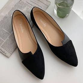 パンプス ぺたんこ レディース 配色靴 美脚 (ブラック)