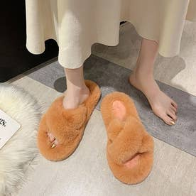 秋 冬 フェイク ファー サンダル ルームシューズ 履きやすい シューズ 靴 室内用 あたたか ふわふわ 大人 レディース (オレンジ)