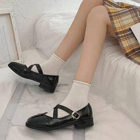 パンプス ロリータシューズ レディース 靴 クロスストラップ ローヒール メイド靴 お嬢様 学院風 レザー調 四季 (ブラックエナメル)