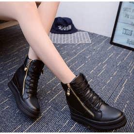 厚底 スニーカー レディース ハイカット シューズ 美脚 スニーカー インヒール 歩きやすい 靴 人気 韓国風 カジュアル靴 (ブラック)