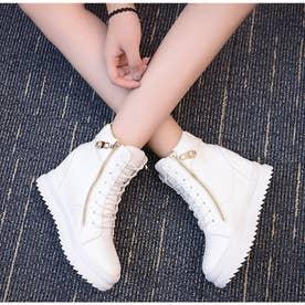 厚底 スニーカー レディース ハイカット シューズ 美脚 スニーカー インヒール 歩きやすい 靴 人気 韓国風 カジュアル靴 (ホワイト)