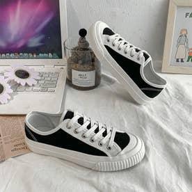 スニーカー レディース ローカット 靴 韓国風 スポーツ おしゃれ カジュアル靴 クラシック 配色 (ブラック)