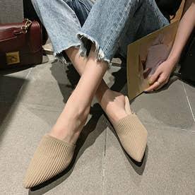 ミュールパンプスサンダル レディース ヒールサンダル ポインテッドトゥ 靴 サボサンダル かかとなしパンプス 春夏 (ベージュ)