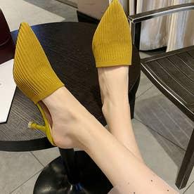 ミュールパンプスサンダル レディース ヒールサンダル ポインテッドトゥ 靴 サボサンダル かかとなしパンプス 春夏 (イエロー)