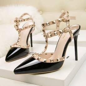 サンダルパンプス ハイヒール レディース スタッズpumpsポインテッドトゥ キャバパンプス アンクルストラップ結婚式靴 パーティー (ブラック)