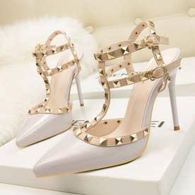 サンダルパンプス ハイヒール レディース スタッズpumpsポインテッドトゥ キャバパンプス アンクルストラップ結婚式靴 パーティー (ライトグレー)