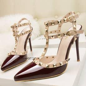 サンダルパンプス ハイヒール レディース スタッズpumpsポインテッドトゥ キャバパンプス アンクルストラップ結婚式靴 パーティー (ワインレッド)