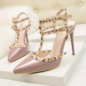 サンダルパンプス ハイヒール レディース スタッズpumpsポインテッドトゥ キャバパンプス アンクルストラップ結婚式靴 パーティー (ピンクパープル)