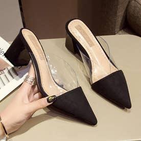 ミュール パンプスサンダル レディース チャンキーヒール ポインテッドトゥ クリア サボサンダル 履きやすい 靴 きれいめ 大人 (ブラック)