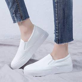 スリッポン レディースシューズ 厚底 スニーカー フラットシューズ キャンバス ローカット 靴 (ホワイト)