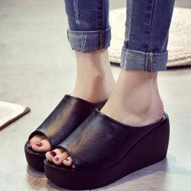 厚底サンダル レディース ウェッジソール ミュールサンダル オープントゥ 歩きやすい 靴 (ブラック)