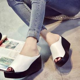 厚底サンダル レディース ウェッジソール ミュールサンダル オープントゥ 歩きやすい 靴 (ホワイト)