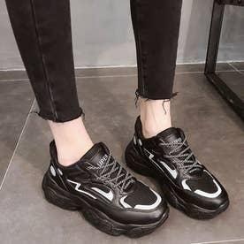 ダッドスニーカー レディース 光反射 厚底スニーカー レースアップ 疲れにくい シューズ 通気性 軽量 人気 スポーツ靴 韓国風 (ブラック)