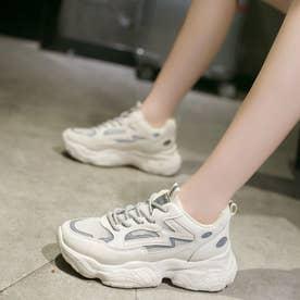 ダッドスニーカー レディース 光反射 厚底スニーカー レースアップ 疲れにくい シューズ 通気性 軽量 人気 スポーツ靴 韓国風 (ベージュ)