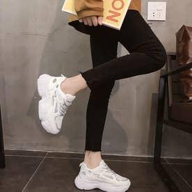 ダッドスニーカー レディース 光反射 厚底スニーカー レースアップ 疲れにくい シューズ 通気性 軽量 人気 スポーツ靴 韓国風 (ホワイト)