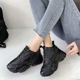 スニーカー レースアップシューズ 靴 レディース 厚底 スポーツ 通勤通学 おしゃれ クラシック シンプル (ブラック)
