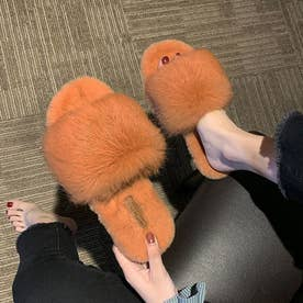ファースリッパ レディース ふわふわ ファーミュール 履きやすい 外履き ルームシューズあったか ファーサンダル 滑り止め (オレンジ)