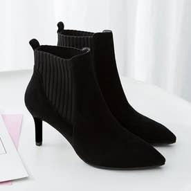ブーティー レディース ブーツ ショート丈 ファッション靴 ハイヒール スエード パーティー (ブラック)