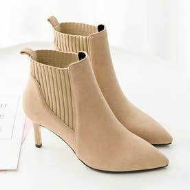 ブーティー レディース ブーツ ショート丈 ファッション靴 ハイヒール スエード パーティー (ベージュ)