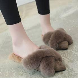 サンダル ファーサンダル レディース スリッパ 美脚 冬物 暖かい フラットシューズ ポインテッドトゥ 歩きやすい 疲れない (モカ)